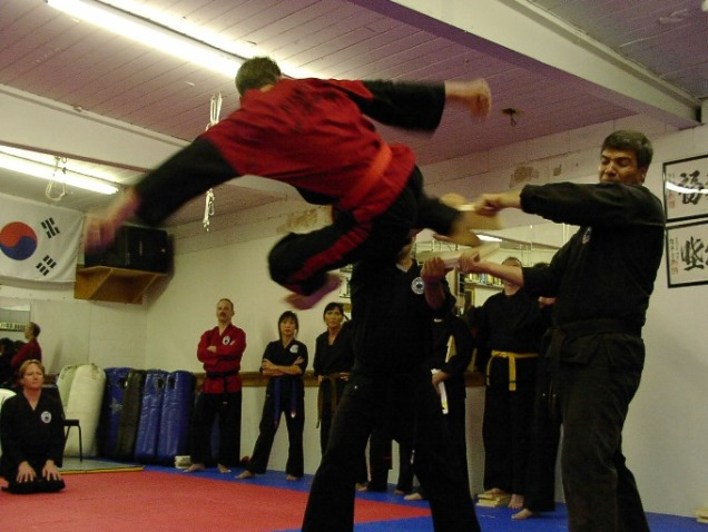 Flying side kick break
